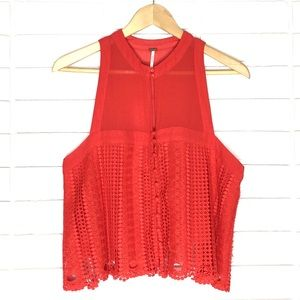 Free People | Red Rory Sheer/Lace Sleeveless Top